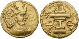 Sasanian Kingdom. Shapur II. Gold Dinar (7.18 g), AD 309-379. Sind. Bust of Shapur II right, wearing mural crown with korymbos; star to right erased f...