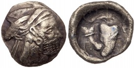 Kingdom of Persis. Bagadat (Bayadad). Silver Hemidrachm (2.0 g), early-mid 3rd century BC. Contemporary imitation(?). Bearded head right, wearing kyrb...