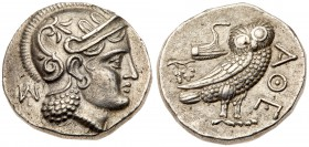 Baktria, Uncertain. Silver Didrachm (8.16 g), ca. 323-240 BC. Copying Athens. Hekatompylos. Helmeted head of Athena right, profile eye; behind, monogr...