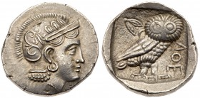 Baktria, Uncertain. Silver Tetradrachm (16.79 g), ca. 323-240 BC. Copying Athens. Helmeted head of Athena right, profile eye. Reverse: AΘE, owl ...