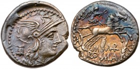 M. Marcius Mn.f. Silver Denarius (3.80 g), 134 BC. Rome. Helmeted head of Roma right; behind, modius; beneath chin, denominaion. Reverse: Victory, hol...