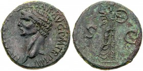 Claudius. Æ As (11.93 g), AD 41-54. Rome, AD 41/2. Bare head of Claudius left. Reverse: Minerva advancing right, brandishing spear and holding s...