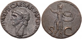 Claudius. Æ As (10.19 g), AD 41-54. Rome, AD 41/2. TI CLAVDIVS CAESAR AVG P M TR P IMP, bare head of Claudius left. Reverse: S C across field, M...