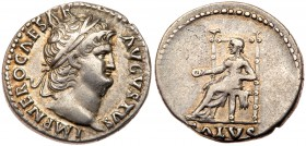 Nero. Silver Denarius (3.47 g), AD 54-68. Rome, ca. AD 66/7. IMP NERO CAESAR AVGVSTVS, laureate head of Nero right. Reverse: SALVS in exergue, Salus s...