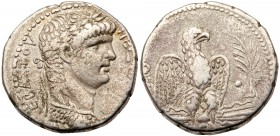 Nero. Silver Tetradrachm (14.21 g), AD 54-68. Antioch in Syria, RY 9 and year 111 of the Caesarean Era (AD 62/3). Laureate bust of Nero right, wearing...