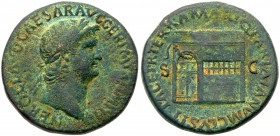 Nero. Æ Sestertius (22.18 g), AD 54-68. Rome, ca. AD 65. Laureate bust of Nero right, wearing aegis. Reverse: Temple of Janus with garland hung ...