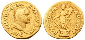 Vespasian. Gold Aureus (6.84 g), AD 69-79. Rome, AD 74. IMP CAESAR VESPASIANVS AVG, laureate head of Vespasian right. Reverse: FORTVNA AVGVST, Fortuna...