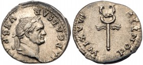 Vespasian. Silver Denarius (3.29 g), AD 69-79. Rome, AD 74. IMP CAESAR VESP AVG, laureate head of Vespasian right. Reverse: PONTIF MAXIM, winged caduc...