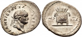 Vespasian. Silver Denarius (3.25 g), AD 69-79. Rome, AD 77/8. CAESAR VESPASIANVS AVG, laureate head of Vespasian right. Reverse: IMP XIX, modius with ...