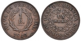Argentina. 1 real. 1840. Buenos Aires. (Km-7). Ae. 4,12 g. MBC+. Est...50,00.