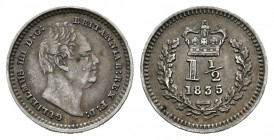 Gran Bretaña. William III. 1 1/2 pence. 1835. (Km-719). Ag. 0,71 g. MBC+. Est...40,00.