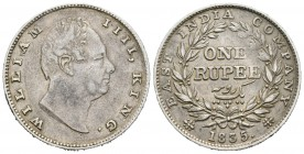 India Británica. William IV. 1 rupia. 1835. Calcuta. (Km-450.7). Rev.: RS . Ag. 11,60 g. RS incusa en cuello. Rara. MBC+. Est...60,00.