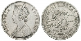 India. Estado de Alwar. Victoria. 1 rupia. 1882. (Km-45). 11,56 g. Escasa. MBC+. Est...35,00.