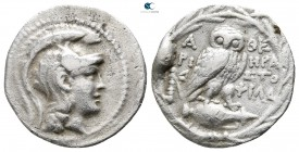 Attica. Athens. ΗΡΑ- (Hera-), ΑΡΙΣΤΟΦ- (Aristoph-), ΦΙΛΑN- (Philan-), magistrates circa 165-42 BC. Struck 136/5 BC. Drachm AR. New Style Coinage. Clas...