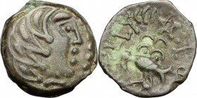 Celtic World. Gaul, Northwest. Senones. Ullucci. AE, 100-50 BC. D/ Stylized male head right. R/ Stylized eagle standing left; above, pentagram and cro...
