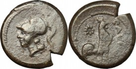 Greek Italy. Samnium, Southern Latium and Northern Campania, Cales. AE, 265-240 BC. D/ Head of Athena left, helmeted. R/ Rooster standing right; behin...