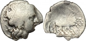 Greek Italy. Central and Southern Campania, Neapolis. AR Triobol, 300-275 BC. D/ Head of Apollo right, laureate. R/ Nike in biga right. HN Italy 580. ...
