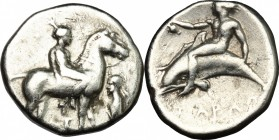 Greek Italy. Southern Apulia, Tarentum. AR Nomos, 365-355 BC. D/ Naked youth on horse standing right; to right, herm left. R/ Phalantos riding dolphin...