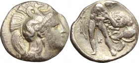 Greek Italy. Southern Apulia, Tarentum. AR Diobol, 380-325 BC. D/ Head of Athena right, helmeted. R/ Heracles standing right, lifting lion with neck-g...