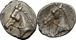 Greek Italy. Southern Apulia, Tarentum. AR Hemilitron, 325-280 BC. D/ Head of Horse left. R/ Head of horse left. SNG Cop. 1063. cf. HN Italy 981 (3/4 ...