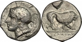 Greek Italy. Northern Lucania, Velia. AR didrachm, 390-250 BC. D/ Head of Athena left, helmeted. R/ Lion standing right. HN Italy 1284. AR. g. 6.20 mm...