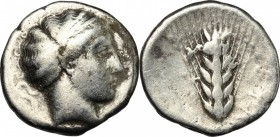 Greek Italy. Southern Lucania, Metapontum. AR stater, c. 430-400 BC. D/ Head of Demeter right, hair bound in crossed fillet. R/ Barley ear of six grai...