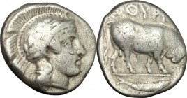 Greek Italy. Southern Lucania, Thurium. AR Stater, c. 443-400 BC. D/ Head of Athena right, wearing Attic helmet, decorated with wreath. R/ Bull walkin...