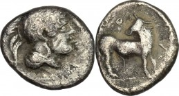 Greek Italy. Southern Lucania, Thurium. AR Diobol, 443-400 BC. D/ Head of Athena right, helmeted. R/ Bull right, head turned back. HN Italy 1780. AR. ...