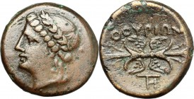 Greek Italy. Southern Lucania, Thurium. AE, c. 280 BC. D/ Head of Apollo left, laureate. R/ Winged thunderbolt. HN Italy 1927. AE. g. 3.54 mm. 15.00 B...
