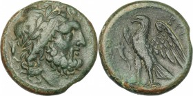 Greek Italy. Bruttium, The Brettii. AE unit, 214-211 BC. D/ Head of Zeus right, laureate; behind, corn-ear. R/ Eagle standing left on thunderbolt, win...