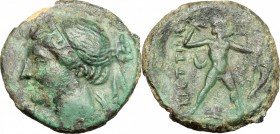 Greek Italy. Bruttium, The Brettii. AE Half, 214-211 BC. D/ Head of Nike left. R/ Zeus striding tight; hurling thunderbolt and holding scepter. HN Ita...