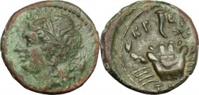 Greek Italy. Bruttium, The Brettii. AE Quarter, 214-211 BC. D/ Head of river god left, horned, wearing wreath of reed; behind, corn-ear. R/ Crab; abov...