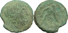 Greek Italy. Bruttium, Brettii. AE unit, 211-208 BC. D/ Head of Zeus right, laureate. R/ Warrior advancing right; holding spear and oval shield. HN It...
