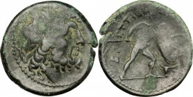 Greek Italy. Bruttium, The Brettii. AE Unit (Drachm), c. 211-208 BC. Fourth coinage. D/ Head of Zeus right, laureate; thunderbolt behind. R/ Warrior a...