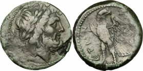 Greek Italy. Bruttium, Brettii. AE Unit, 211-208 BC. D/ Head of Zeus right, laureate; behind, dagger. R/ Eagle standing left. HN Italy 1994. SNG ANS 1...
