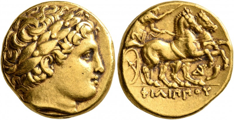 KINGS OF MACEDON. Philip II, 359-336 BC. Stater (Gold, 18 mm, 8.53 g, 12 h), Aby...