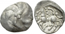 "CENTRAL EUROPE. Vindelici. Quinarius (1st century BC). ""Manching A"" type."