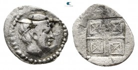 Thraco-Macedonian Region. Trie of Bisaltia in Pangaion circa 480-450 BC. Tritetartemorion AR. Phocaic standard