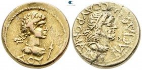 Kingdom of Bosporos. Uncertain mint. Sauromates II with Commodus AD 174-211.  Dated year 474 of the Bosporan Era (AD 177/8). Stater AV