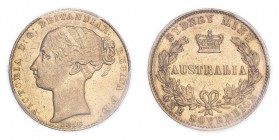 AUSTRALIA. Victoria, 1837-1901. Sovereign, 1856 SY, Very rare. 7.98 g. Marsh 361; KM-2; Fr-9.  Young filleted head of Victoria facing left, date below...