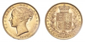 AUSTRALIA. Victoria, 1837-1901. Sovereign, 1884 S, Sydney, Shield. 7.99 g. KM 6; Fr. 11.  Young head of Victoria facing left, date below, legend aroun...