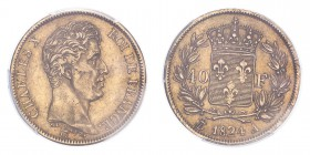 FRANCE. Charles X, 1824-30. 40 Francs, 1824 A, Paris, 12.90 g. Fr-547; Gad-1105; F-544; KM-721.  Bare head of Charles X facing right, legend reads CHA...
