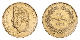 FRANCE. Louis-Philippe, 1830-48. 40 Francs, 1831 A, 12.90 g. Fr-557; Gad-1106; F-546; KM-747.  Laureate head of Louis Philippe facing left, surroundin...
