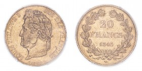 FRANCE. Louis-Philippe, 1830-48. 20 Francs, 1845 W, Lille, Rare date. 6.45 g. Fr-560; Gad-1031; KM-750.  Laureate head of Louis Philippe facing left, ...