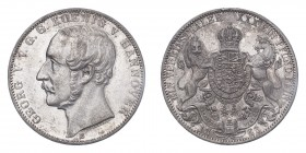 GERMANY: HANNOVER. Georg V, 1851-66. 1 Vereinstaler, 1863 B, Hannover, 18.52 g. KM 230.  About uncirculated.