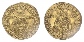 GERMANY: SAXONY. Johann Georg I, 1611-56. Ducat, 1617, Dresden, Centenary of the Reformation. 3.43 g. Fr-2663; Whiting 70; KM-109.  This ducat is stru...