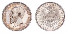 GERMANY: SCHAUMBURG-LIPPE. Georg, 1893-1911. 3 Mark, 1911 A, Berlin, Prince's Death; Auf dem Tot. 16.67 g. KM 55; Jaeger 166.