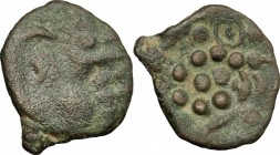 Celtic World. Britain, Durotriges. BI Stater, 58-40 BC. D/ Very stylized head of Apollo right. R/ Disjointed horse left; above and below, pellets. BMC...