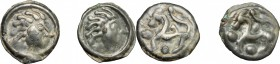 Celtic World. Gaul, Northwest. Senones. Lot of 2 Potin Units, 100-50 BC. D/ Stylized head right. R/ Stylized horse left; around, pellets. D&T 2640. De...