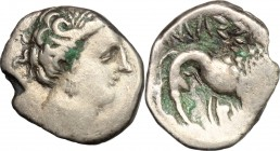 Celtic World. Cisalpine Gaul. AR Light Drachm, imitating Massalia 200-150 BC. D/ Female head right. R/ Lion standing right. AR. g. 2.25 mm. 15.00 Tone...